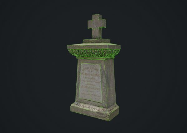 Tombstone 3D scanned model wireframe