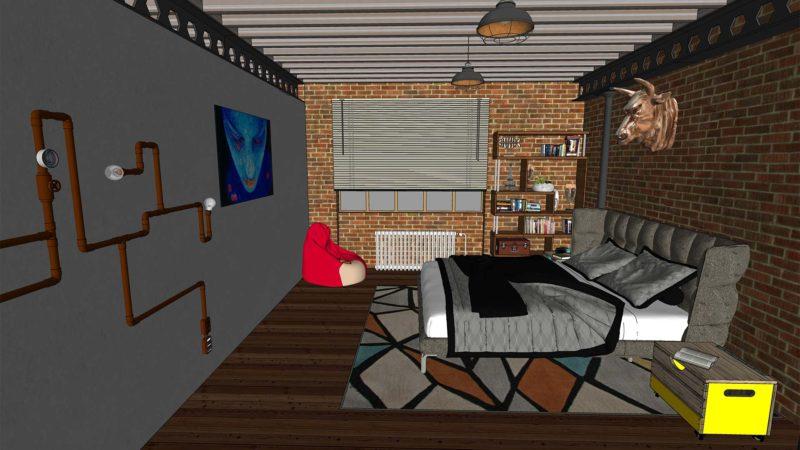 Archviz industrial loft SketchUP