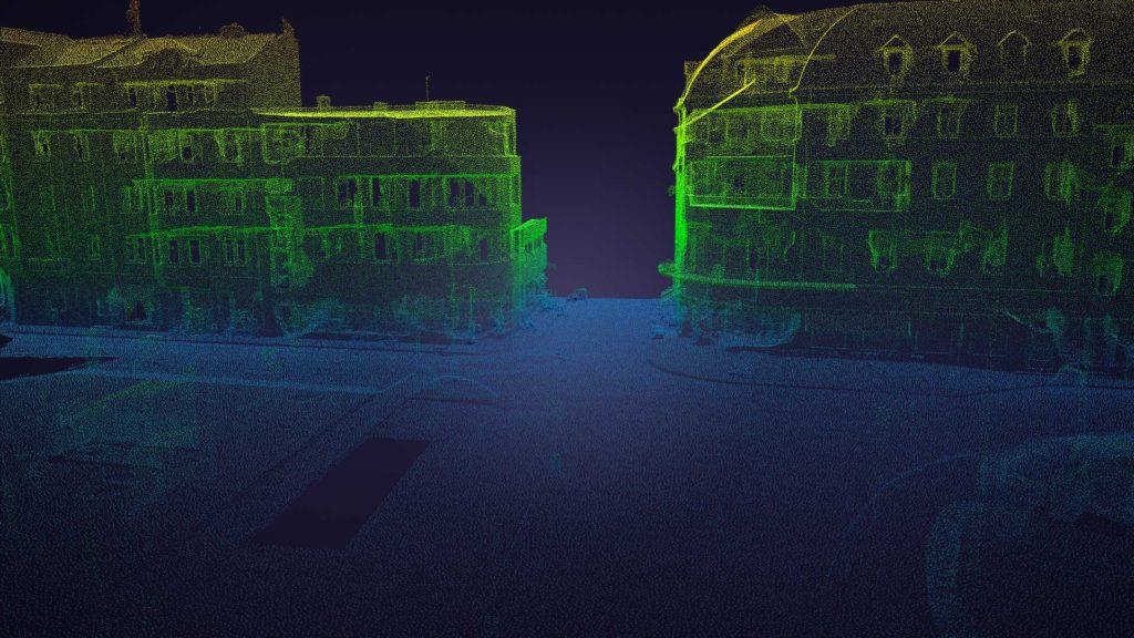 3D sken náměstí pointcloud color ramp